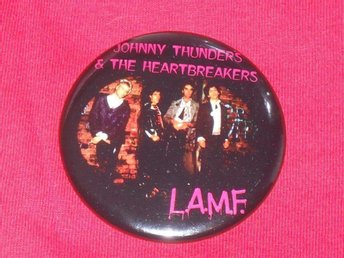 HEARTBREAKERS - STOR Badge / Pin / Knapp (LAMF, Punk, Glam, Thunders, NY Dolls,)