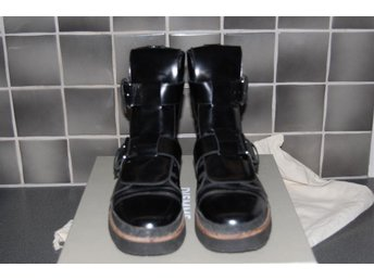 MARNI COMBAT BOOTS  IN BLACK / LYST LEATHER  Nya Exclusiva storlek 40