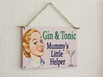 "Retro metallskylt ""Gin & Tonic Mummy's..."""