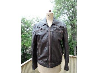Genuine Leather brun äkta skinnjaca storlek 48 (360614840