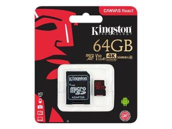 Javascript är inaktiverat. - Höganäs - Kingston 64GB microSDXC Canvas React 100R/80W U3 UHS-I V30 A1 Adaptr Kingston Canvas React microSDXC-kort, 64GB, inkl. SD-korts adapter, svartOtrolig hastighet fà r makalà s bildkvalitetKingstons Canvas React microSD-kort är avsedda att v - Höganäs