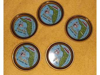 5 Coasters Florida The Sunshine State USA av metall 1970-tal