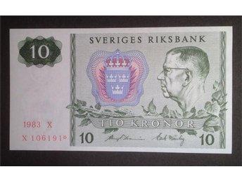 10 kronor 1983 stjärnmärkt - 10 toppexemplar i nummerfäljd - Uppsala - 10 kronor 1983 stjärnmärkt - 10 toppexemplar i nummerfäljd - Uppsala