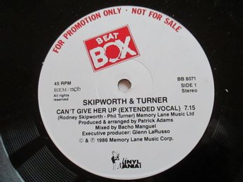 "Beat Box promo 12"" maxi: SKIPWORTH & TURNER - CAN´T GIVE HER UP (Extended)"