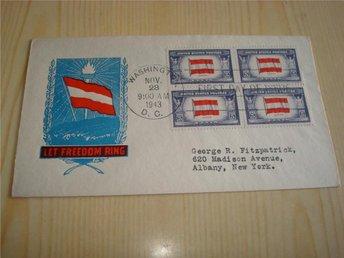 WWII Let Freedom Ring Österrike Austria 1943 USA förstadagsbrev FDC 4 frimärken - Jämjö, Blekinge - WWII Let Freedom Ring Österrike Austria 1943 USA förstadagsbrev FDC 4 frimärken - Jämjö, Blekinge