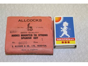 ALLCOCKS HOOKS MOUNTED TO STRONG SPANISH GUT made in england