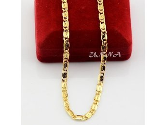 Unisex Mens Womens 4mm Solid Yellow Gold Filled Chain Link Snail Necklace 50cm - Landskrona - Unisex Mens Womens 4mm Solid Yellow Gold Filled Chain Link Snail Necklace 50cm - Landskrona