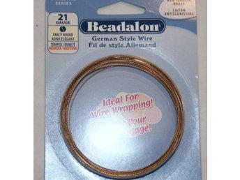 Javascript är inaktiverat. - Bålsta - German Style Wire, används med fördel till Wire Wrapping. Grovlek: 21 Gauge med diameter 0,72mm Modell: FANCY ROUND Färg: BRASS NON-TARNISH, (Bronsfärgad som inte svartnar) Grovleken på wiren anges i Gauge, ju högre siffra desto tunnare tr - Bålsta