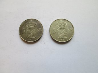 Parti med 2 st 5-kronor 1955
