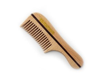 1541 Wooden Moustache/Beard Comb Natural Beechwood