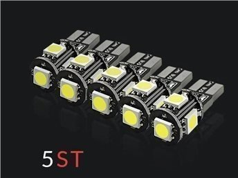 5st - T10 Canbus 5-SMD 5050 Ultra White