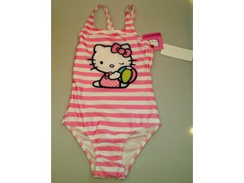 Baddräkt HELLO KITTY Vit/rosa randig Stl. 122/128 Set: 2 NY