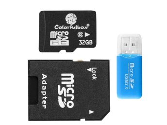 Micro SDHC 32GB + Adapter + USB sticka