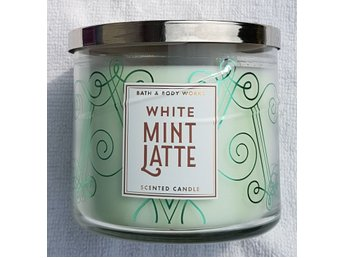 WHITE MINT LATTE Bath & Body Works 3-wick Candle doftljus 3-veks doft USA