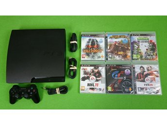 Playstation 3 Konsol 149gb Med 6 Spel  Basenhet