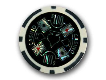 poker chips Casino laser $100 svart-50 st.