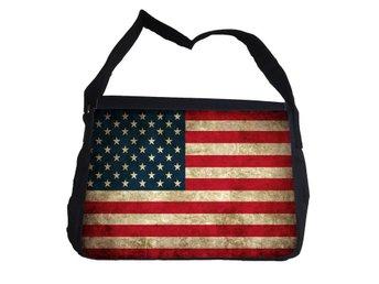 Rustik USA flagga väska med axelrem - Reporter Bag - Markaryd - Rustik USA flagga väska med axelrem - Reporter Bag - Markaryd
