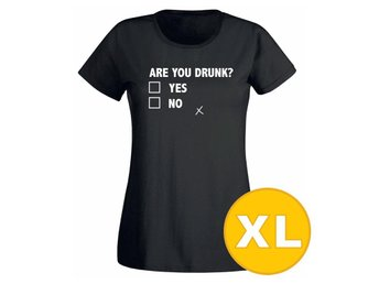 T-shirt Are You Drunk? Svart Dam tshirt XL