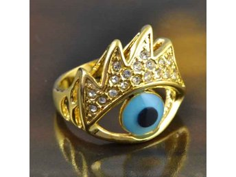Ring,Evil eye,14K guldfylld 18mm