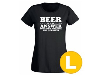 T-shirt Beer Is The Answer Svart Dam tshirt L