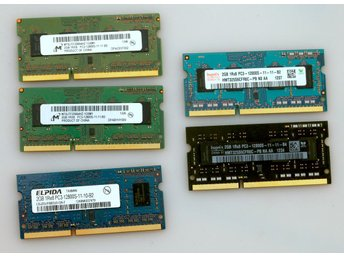 5  minnesmoduler  SO-DIMM PC3-12800 2GB