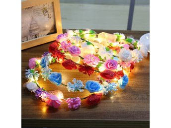 Battery Powered LED Flower Wreath Headband Crown Floral G...