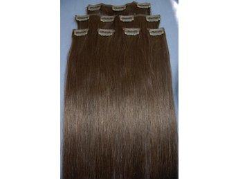 hårförlängning clips äkta hår