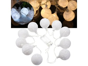 Battery Powered 1.2M 10LEDs Warm White Pure White Snowbal...