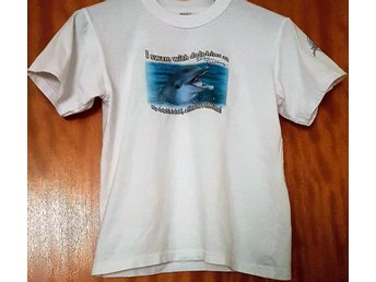Tuff vit I Swam with the Dolphins tröja Delfin str 140 146 152 Size12 Fint skick