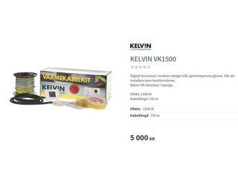 GOLVVÄRME KELVIN VK1500 5-20 kvm Helt nytt kvitto och Garanti 15 år. - Malmö - GOLVVÄRME KELVIN VK1500 5-20 kvm Helt nytt kvitto och Garanti 15 år. - Malmö