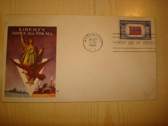 WWII Norge Norway Liberty 1943 USA förstadagsbrev FDC