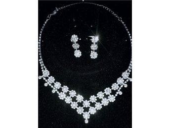 Smyckes set, vackert halsband och örhängen. Med strass.perfekt till bröllop - Vargön - Smyckes set, vackert halsband och örhängen. Med strass.perfekt till bröllop - Vargön