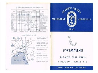 OLYMPIC GAMES MELBOURNE 1956 3.12 programme Swimming