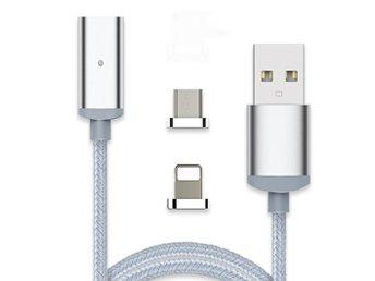 Javascript är inaktiverat. - Uppsala - slitstark kabel för laddning av enheter med lightning kontakt och micro usb. Enkelt att byta kontakt tack vare den magnetiska kontakten. SpecifikationerLängd: 120cmFärg: Silver Passar: iPhone 5, iPhone 6 iPhone 7, iPad 4, iPad Air, iPad Mini  - Uppsala