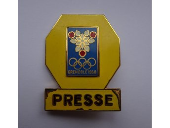 Olympic Games Grenoble France 1968 Press Bagde Olympiska Spelen 1968 Press Märke