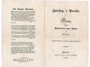 Javascript är inaktiverat. - Berlin - Forsøg i Poesie Sang, tilegnet Skandinaviens tappre Krigere af Nielsen. Den klagende AEgtemand Forlagt af Boghandler H. P. Møller, Gammelmønt Nr. 151, Kjøbenhavn, Trykt hos J. D. Qvist, 1848 Original folded paper from 1848. Front/back (see sc - Berlin