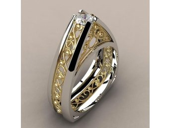 Concise Modernist Genuine Clear AAA Zircon Hollow Out Heart Ring R4046-8