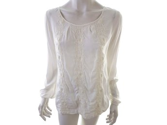 Esprit Long Sleeve Tunic Size 6 Creamy 100% Viscose Embroidery