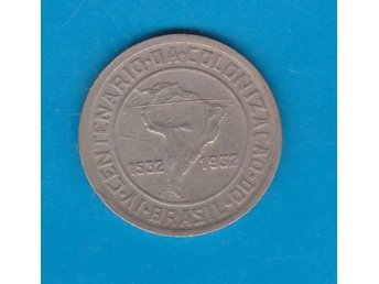 BRASILIEN  / BRAZIL  vackert mynt med karta  / coin depicting map
