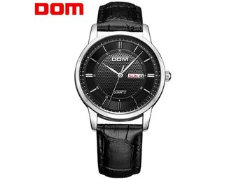 DOM M-11 Business Style Men Wrist Watch Calendar Leather Strap Clock Quartz Watc