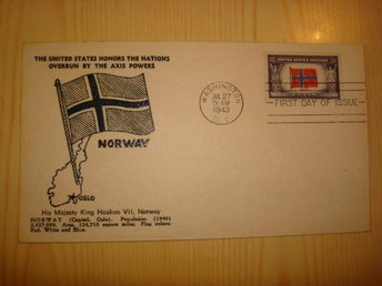 WWII Norge Norway Overrun Country King Haakon VII 1943 USA förstadagsbrev FDC