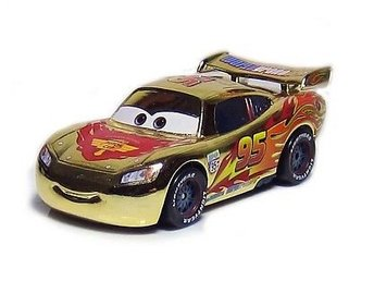 Cars Bilar Disney Pixar Metall - Mcqueen GOLD Guld Chrome  Metallic Piston   NY