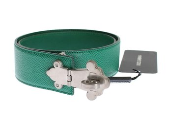 Dolce & Gabbana - Green Leather Silver Buckle Belt