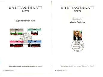 Berlin, Ersttagsblatt i A5-format, 9 st 1975 - Huskvarna - Berlin, Ersttagsblatt i A5-format, 9 st 1975 - Huskvarna