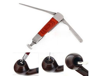Red Wood Stainless Steel Tobacco 3 in 1 Pipe Tool Pipa