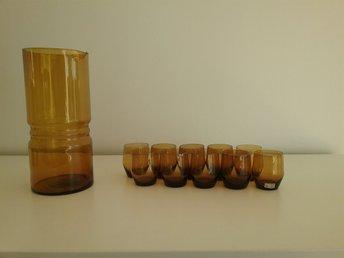 Mint condition Karaff, 10 glas Lindshammar Gunnar Ander retro. Ettikett.Bärnsten - Uddevalla - Mint condition Karaff, 10 glas Lindshammar Gunnar Ander retro. Ettikett.Bärnsten - Uddevalla