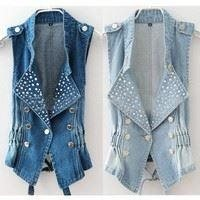 Fashion Womens Lady Girl Casual Sleeveless Beads Denim Vest Punk Coat Western - Halmstad - Fashion Womens Lady Girl Casual Sleeveless Beads Denim Vest Punk Coat Western - Halmstad