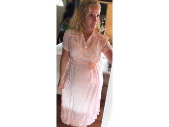 40-tal fri frakt vintage klänning rosa prickig romantisk ...