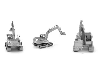 3D modell/pussel CAT EXCAVATOR, metall, silver