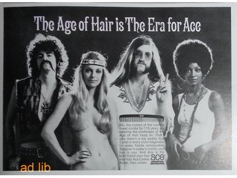 ACE COMBS - THE AGE OF HAIR IS THE ERA FOR ACE, TIDNINGSANNONS Retro 1970